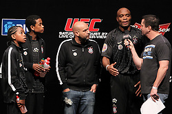 August 26, 2011; Rio De Janiero, Brazil; UFC Middleweight Champion Anderson Silva speaks with Mike Goldberg.