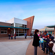 Children Lining Up Before School in Stockton Education Infrastructure Architectural Example of Chip Allen Photography.
