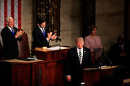 President Donald Trump gives a speech to a joint session of Congress on February 28, 2017<br /> <br /> Photo by Dennis Brack