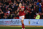 Nottingham Forest midfielder Henri Lansbury (10) can't believe his miss  during the Sky Bet Championship match between Nottingham Forest and Brighton and Hove Albion at the City Ground, Nottingham, England on 11 April 2016. Photo by Simon Davies.