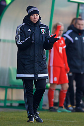 ZENICA, BOSNIA AND HERZEGOVINA - Tuesday, November 28, 2017: Wales' manager Jayne Ludlow during the FIFA Women's World Cup 2019 Qualifying Round Group 1 match between Bosnia and Herzegovina and Wales at the FF BH Football Training Centre. (Pic by David Rawcliffe/Propaganda)