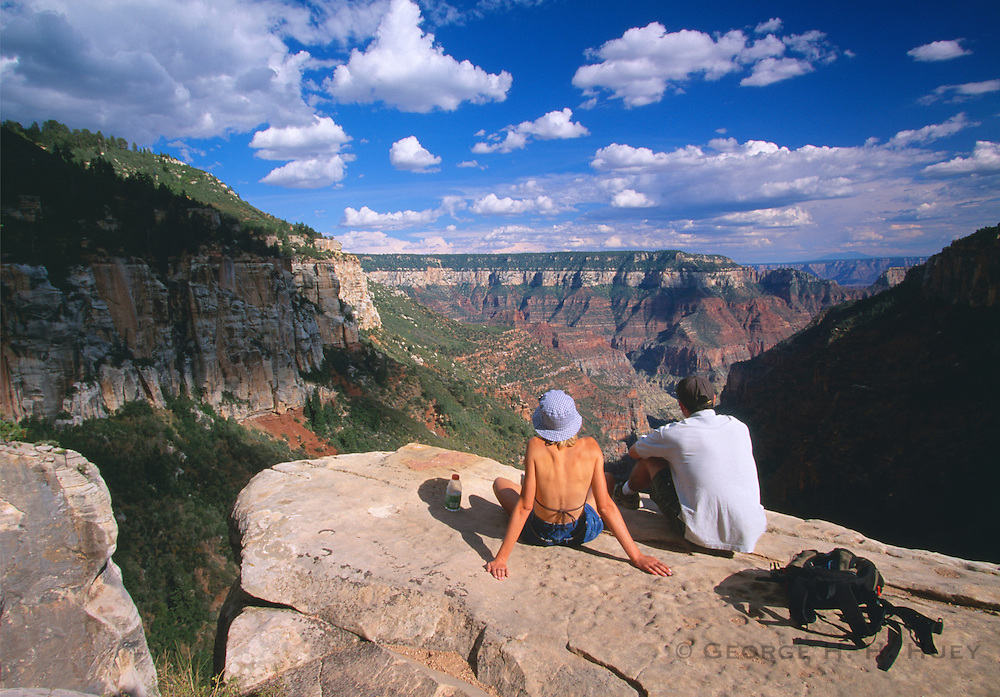 350107-1049D ~ Copyright: George H. H. Huey ~ Hikers at the Coconino Overlook, on the North Kaibab Trail. North Rim. Grand Canyon National Park, Arizona.