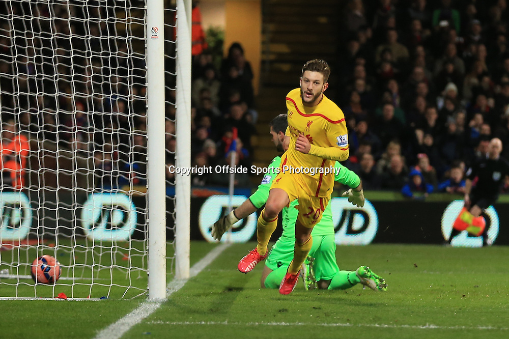 14 February 2015 - The FA Cup Fifth Round - Crystal Palace v Liverpool - Adam Lallana of Liverpool scores a goal for 1-2 - Photo: Marc Atkins / Offside.