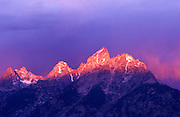 Pink light at dawn on the Grand Teton, Grand Teton National Park, Wyoming USA