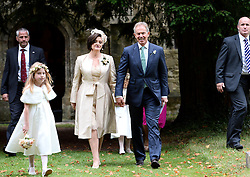 Former Prime Minister Tony Blair and his wife Cherrie at their Son Euan Blair Wedding to Suzanne Ashman at All Saints Church in  Wotton Underwood, United Kingdom. Saturday, 14th September 2013. Picture by Ben Stevens / i-Images<br /> <br /> Pictured is Tony Blair leaving All Saints Church.