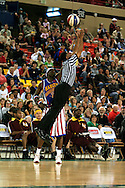 "04 May 2006: Kevin ""Special K"" Daley, the Crown Prince of Basketball plays keep away with the referee during the Harlem Globetrotters vs the New York Nationals at the Sulivan Arena in Anchorage Alaska during their 80th Anniversary World Tour.  This is the first time in 10 years that the Trotters have visited Alaska."