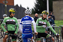 Catching up with old friends - Rosella Ratto, Rachele Barbieri and Maria Giulia Confalonieri - Pajot Hills Classic 2016, a 122km road race starting and finishing in Gooik, on March 30th, 2016 in Vlaams Brabant, Belgium.