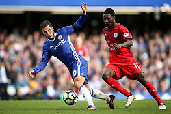 Eden Hazard of Chelsea keeps Daniel Amartey of Leicester City off the ball - Mandatory by-line: Jason Brown/JMP - 15/10/2016 - FOOTBALL - Stamford Bridge - London, England - Chelsea v Leicester City - Premier League