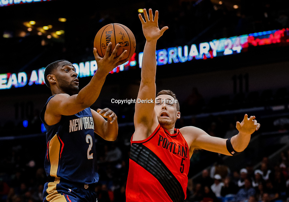 Jan 12, 2018; New Orleans, LA, USA; New Orleans Pelicans guard Ian Clark (2) shoots over Portland Trail Blazers guard Pat Connaughton (5) during the first quarter at the Smoothie King Center. Mandatory Credit: Derick E. Hingle-USA TODAY Sports