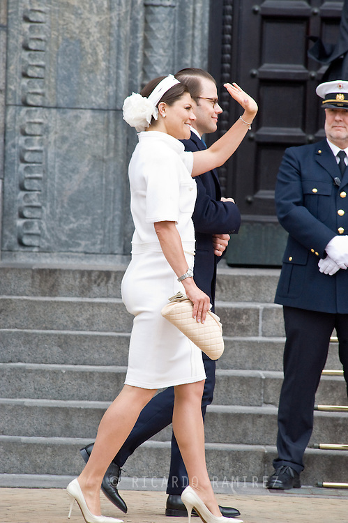 16.04.2015. Copenhagen, Denmark.<br /> Crown Princess Victoria of Sweden and Prince Daniel arrive to the Town Hall during festivities for the 75th birthday of Queen Margrethe II of Denmark.<br /> Photo:© Ricardo Ramirez