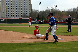 15 February 2007: Jesse Griswold makes an easy slide into third base. Indiana State Sycamores gave up the first game of the double-header by a score of 16-6 to the Illinois State Redbirds at Redbird Field on the campus of Illinois State University in Normal Illinois.