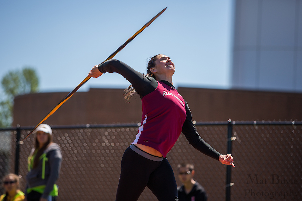 Ramapo College's Alexis Appezzato competes in the women's javelin  at the NJAC Track and Field Championships at Richard Wacker Stadium on the campus of  Rowan University  in Glassboro, NJ on Sunday May 5, 2013. (photo / Mat Boyle)