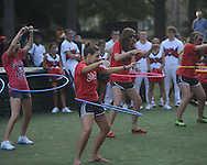 Students participate in a hula hoop contest an Ole Miss pep rally in the Grove in Oxford, Miss. on Thursday, September 1, 2011.