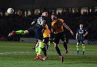 Football - 2018 / 2019 Emirates FA Cup - Fifth Round: Newport County vs. Manchester City<br /> <br /> Manchester City's Nicolas Otamendi battles for possession with Newport County's Scot Bennett, at Rodney Parade.<br /> <br /> COLORSPORT/ASHLEY WESTERN