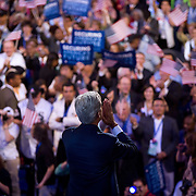 Former Pres. Bill Clinton acknowledges the crowd on the third day of the Democratic National Committee (DNC) Convention at the Pepsi Center in Denver, Colorado (CO) Wednesday, Aug. 27, 2008.   ..Photo by Khue Bui