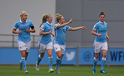 MANCHESTER, ENGLAND - Sunday, August 30, 2015: Manchester City's Isobel Christiansen celebrates her goal against Liverpool during the League Cup Group 2 match at the Academy Stadium. (Pic by Paul Currie/Propaganda)