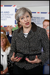 April 26, 2017 - Newport, Newport, United Kingdom - Image ©Licensed to i-Images Picture Agency. 25/04/2017. Newport, United Kingdom. Theresa May Election Campaign. The British Prime Minister  Theresa May visiting Newport Galvanizers Ltd on a tour of South Wales ahead of the General Election.  Newport 25 April 2017..Picture by i-Images / Pool (Credit Image: © i-Images via ZUMA Press)