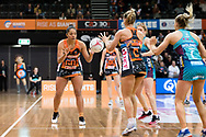 SYDNEY, NSW - JUNE 22: Kristiana Manu'a of the Giants passes the ball to Jamie-Lee Price of the Giants during the round 9 Super Netball match between the Giants and the Vixens at Quaycentre on June 22, 2019 in Sydney, Australia. (Photo by Speed Media/Icon Sportswire)