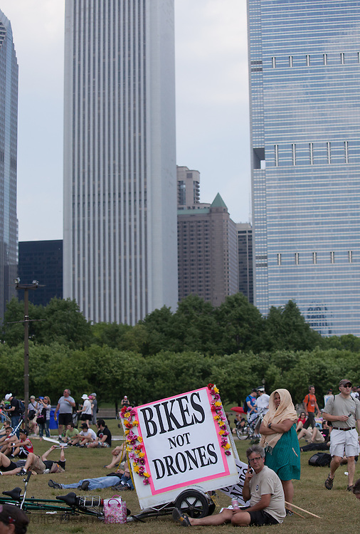 In Chiago's grant Park before an Anti NATO march