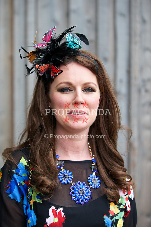 LIVERPOOL, ENGLAND - Friday, April 4, 2014: Emma Bruns during Ladies' Day on Day Two of the Aintree Grand National Festival at Aintree Racecourse. (Pic by David Rawcliffe/Propaganda)