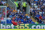 Andy Lonergan makes a save  during the Sky Bet Championship match between Cardiff City and Fulham at the Cardiff City Stadium, Cardiff, Wales on 8 August 2015. Photo by Shane Healey.