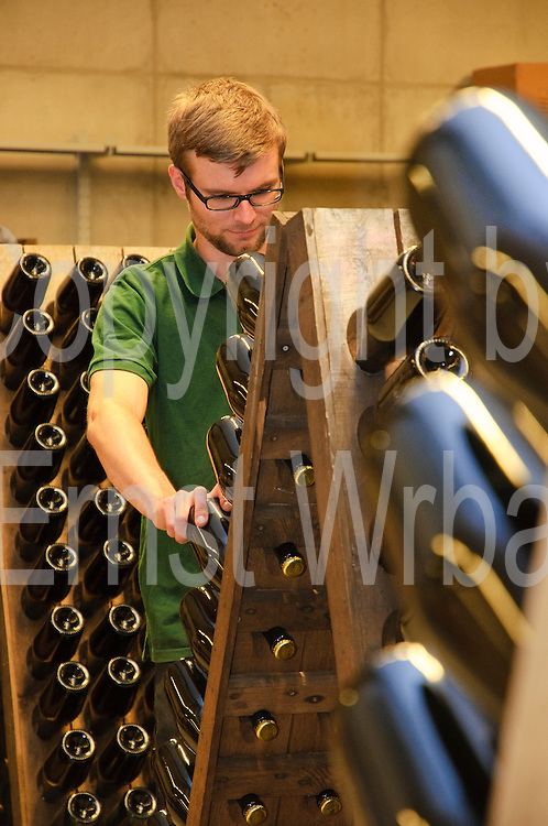 Schloss Wackerbarth, Sektkellerei, Rüttelregale, Radebeul, Sachsen, Deutschland, MODEL RELEASED.|.Wackerbarth Castle, sparkling wine production, Radebeul, Saxony, Germany.