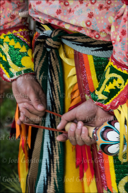 Close up of Native American Pow Wow Regalia. This is an example of ethnic pride, heritage, celebration, and traditional folk art crafts bead work.
