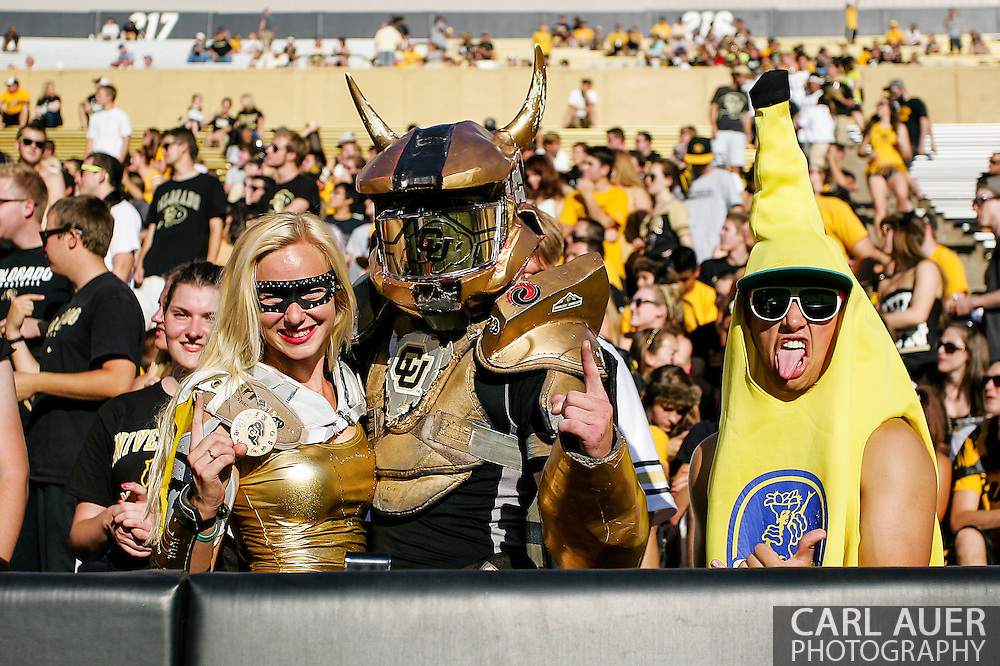 September 7th, 2013 - Buff Man, Buff Girl and Banana Buff prior to the start of action in the NCAA football game between the University of Central Arkansas Bears and the University of Colorado Buffaloes at Folsom Field in Boulder, CO