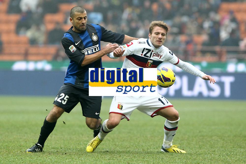 """Walter Samuel Inter Ciro Immobile Genoa.Milano 22/12/2012 Stadio """"S.Siro"""".Football Calcio Serie A 2012/13.Inter v Genoa.Foto Insidefoto Paolo Nucci."""