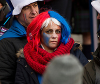EDINBURGH, SCOTLAND - FEBRUARY 11: A worried looking French supporter at Murrayfield during the NatWest Six Nations match between Scotland and France at Murrayfield on February 11, 2018 in Edinburgh, Scotland. (Photo by MB Media/Getty Images)
