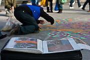 Artist Joe Mangrum at work in Washington Square Park. February 20th , 2010