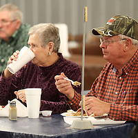 Virginia and Billy Sheffield, of Golden, enjoy their Thanksgiving lunch at Cravin' Catfish Thursday morning in Sherman. This marks the Sheffield's second year to Cravin' Catfish to eat for Thanksgiving.