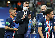 Marco Verratti of PSG holding his medal, French President Emmanuel Macron, President of French Football Federation (FFF) Noel Le Graet during the trophy ceremony following the French Cup final football match between Paris Saint-Germain (PSG) and AS Saint-Etienne (ASSE) on Friday 24, 2020 at the Stade de France in Saint-Denis, near Paris, France - Photo Juan Soliz / ProSportsImages / DPPI