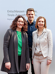 22.03.2018, Congress, Innsbruck, AUT, Gemeinsame PK Tiroler Grüne und Tiroler ÖVP, Regierungsprogramm 2018 bis 2023, im Bild v.l. LH Stv. Ingrid Felipe (DIE GRÜNEN), Gebi Mair (Klubobmann die Grünen), LR Gabi Fischer (DIE GRÜNEN) // f.l. LH Stv. Ingrid Felipe (DIE GRÜNEN) Gebi Mair (Klubobmann die Grünen) LR Gabi Fischer (DIE GRÜNEN) during a press conference of the Tyrolean Greens and the Tyrolean OeVP at the Congress in Innsbruck, Austria on 2018/03/22. EXPA Pictures © 2018, PhotoCredit: EXPA/ Johann Groder