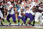 STARKVILLE, MS - SEPTEMBER 19:  Daniel Taylor #4 of the Northwestern State Demons runs the ball during a game against the Mississippi State Bulldogs at Davis Wade Stadium on September 19, 2015 in Starkville, Mississippi.  The Bulldogs defeated the Demons 62-13.  (Photo by Wesley Hitt/Getty Images) *** Local Caption *** Daniel Taylor