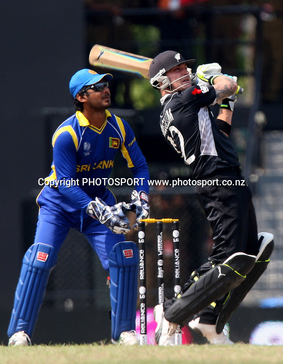 New Zealand batsman Brendon McCullum plays a shot against Sri Lanka during ICC Cricket World Cup - 1st Semi-Final New Zealand vs Sri Lanka Played at R Premadasa Stadium, Colombo, 29 March 2011 - day/night (50-over match)