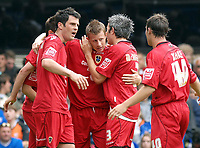 Photo: Ashley Pickering.<br /> Ipswich Town v Cardiff City. Coca Cola Championship. 06/05/2007.<br /> Paul Parry of Cardiff (c) celebrates his equaliser with team mates