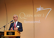 David Noyes, CEO, Cunard, speaks about the remastered Queen Mary 2, Wednesday, July 6, 2016, at Brooklyn Cruise Terminal in New York, its U.S. homeport.  The Queen Mary 2 spent 25 days in dry dock and a refit that cost in the region of $132 million, renovating its staterooms, restaurants and public areas.  (Diane Bondareff/AP Images for Cunard)