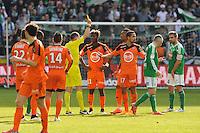 Mikael LESAGE / CARTON JAUNE POUR Didier NDONG - 08.03.2015 - Saint Etienne / Lorient - 28eme journee de Ligue 1<br /> Photo : Jean Paul Thomas / Icon Sport