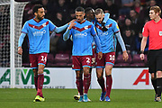 Scunthorpe united celebrate goal scored by Scunthorpe United player Kevin van Veen (10) to go 1-1 during the EFL Sky Bet League 2 match between Scunthorpe United and Port Vale at Glanford Park, Scunthorpe, England on 23 November 2019.