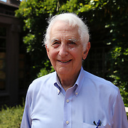 Government whistleblower Daniel Ellsberg poses at the UC Berkeley Graduate School of Journalism during the first week orientation for incoming students at North Gate Hall in Berkeley, California, on Wednesday, August 27, 2014. Ellsberg, who is most famous for his role in the Pentagon Papers ordeal, interacted with students about such topics as freedom of the press, whistleblowers Eric Snowden and Chelsea Manning, and the responsibilities and ethical morals of reporters and other members of the media. (AP Photo/Alex Menendez)