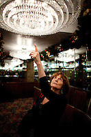 Kay LeRoy, widow of Warner LeRoy, the former owner of Tavern on the Green, gives a tour of what is to be auctioned as the restaurant nears it's end. .(Photo by Robert Caplin)..