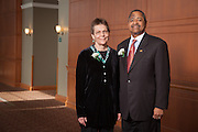 Martha Bishop the Laboratory Coordinator for the Department of Environmental and Plant Biology  is the the recipient of the 2013 Outstanding Administrator Award at the Ohio University's Outstanding Administrator Awards ceremony on March 10, 2014. Martha Bishop  is photographed with Ohio University President  Roderick McDavis.  Photo by Ohio University / Jonathan Adams