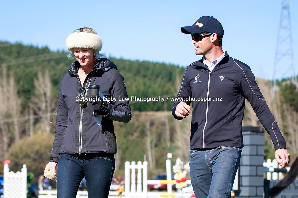 Jonathan Paget with Sarah Dalziell (ESNZ High Performance Director) during the Showjumping at the 2017 NZL-NRM National Three Day Event Championships. National Equestrian Center, Taupo. Sunday 14 May. Copyright Photo: Libby Law Photography