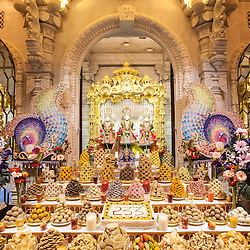 To mark the manifestation on earth of Bhagwan Swaminarayan in 1781, the Neasden Temple hosts devotional festivities, including a ceremonial offering of food (the 'annakut')