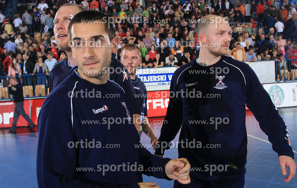 Ales Pajovic, Dragan Gajic, Matjaz Mlakar and Goran Kozomara at qualification match for  Euro 2010 in Austria between national teams of Slovenia and Germany, Group 5, on November 2, 2008 in Arena Zlatorog, Celje, Slovenia. (Photo by Vid Ponikvar / Sportal Images)/ Sportida