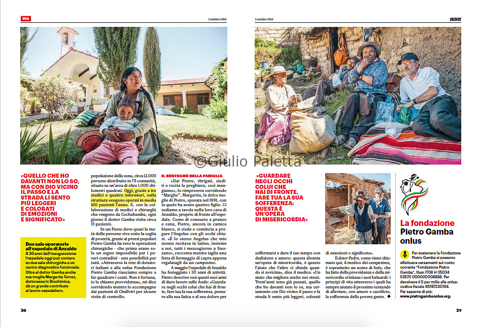 """Pietro Gamba, il medico dei campesinos"". Published in Credere magazine, Italy, September 2016"
