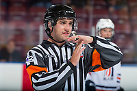 KELOWNA, CANADA - SEPTEMBER 5: Referee Mike Langin makes a call on September 5, 2017 at Prospera Place in Kelowna, British Columbia, Canada.  (Photo by Marissa Baecker/Shoot the Breeze)  *** Local Caption ***