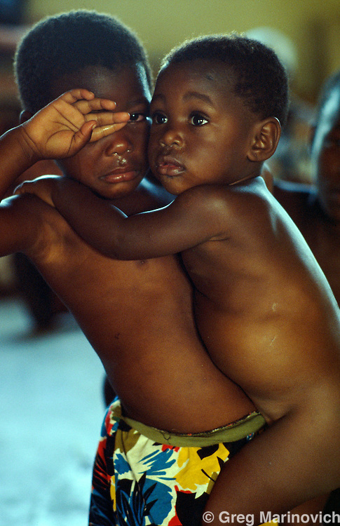 KwaMashu township, KwaZulu Natal, outside Durban, South Africa. Child displacees from ongoing battles between African National Congress and Inkatha Freedom Party supporters, 1994.