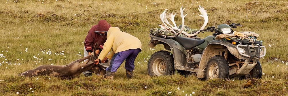 CANADA, Nunavut.<br /> Inuit women hunting caribou